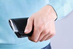 Bolsa com dinheiro à disposição Fotografia de Stock