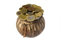 Bolsa com euro- moedas Fotografia de Stock