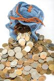 Bolsa com moeda Foto de Stock