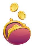 Bolsa com moedas douradas Fotografia de Stock Royalty Free