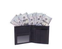 Bolsa com notas de dólar Fotografia de Stock