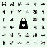 bolsa com um ícone do coração Sira de mãe \ 'grupo universal dos ícones do dia de s para a Web e o móbil ilustração stock
