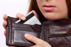 Bolsa com um cartão de banco Fotografia de Stock Royalty Free