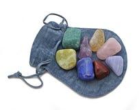 Bolsa con Chakra Crystal Set Imagen de archivo libre de regalías
