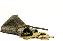 Bolsa con las monedas de oro Fotografía de archivo libre de regalías