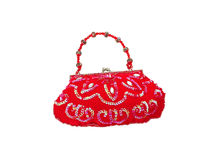 Bolsa da mulher decorada por grânulos coloridos foto de stock royalty free