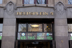 Bolsa de acción de Amsterdam en el beursplein 5 foto de archivo libre de regalías