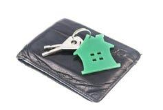 bolsa de couro com chaves da casa fotos de stock royalty free
