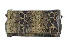 Bolsa de couro da serpente isolada no branco Fotografia de Stock Royalty Free
