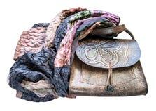 Bolsa de couro envolvida do lenço dos retalhos imagens de stock royalty free