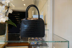 Bolsa de couro preta Fotografia de Stock
