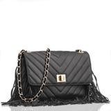 Bolsa de couro preta elegante Fotografia de Stock