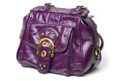 Bolsa de couro roxa Fotos de Stock Royalty Free