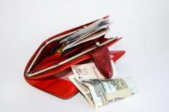 Bolsa de couro vermelha com dinheiro Fotos de Stock Royalty Free
