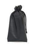 Bolsa de cuero negra con la cuerda aislada Foto de archivo