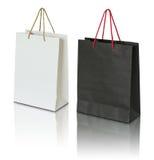 Bolsa de papel blanco y negro Fotos de archivo