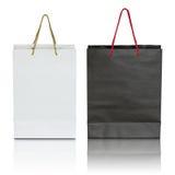 Bolsa de papel blanco y negro Imagen de archivo libre de regalías