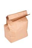 Bolsa de papel (bolso del almuerzo) aislada Fotos de archivo