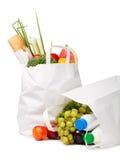 Bolsa de papel con el alimento imagen de archivo libre de regalías