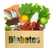 Bolsa de papel con la diabetes de la palabra Fotos de archivo