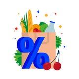 Bolsa de papel con los ultramarinos Empaquete con compras, pan, leche, hierbas, verduras y frutas en un descuento ilustración del vector