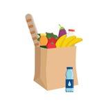 Bolsa de papel del eco del supermercado por completo de la comida Foto de archivo libre de regalías