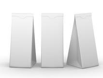 Bolsa de papel doblada blanco con la trayectoria de recortes Fotografía de archivo libre de regalías