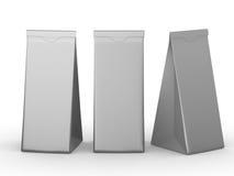 Bolsa de papel doblada plata con la trayectoria de recortes Imagen de archivo libre de regalías