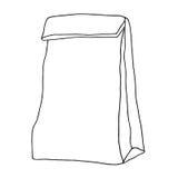 Bolsa de papel envase Ejemplo gráfico dibujado mano Aislado Foto de archivo libre de regalías