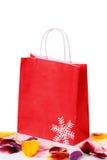Bolsa de papel roja de las compras Foto de archivo libre de regalías