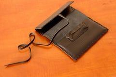 Bolsa de tabaco de cuero negra Imagen de archivo