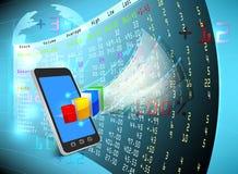 A bolsa de valores no móbil Fotos de Stock Royalty Free