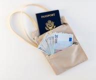Bolsa del cuello del viaje con el pasaporte y euros Imágenes de archivo libres de regalías