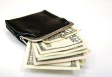 Bolsa do vintage com dinheiro Imagem de Stock