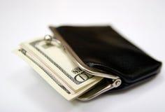 Bolsa do vintage com dinheiro Foto de Stock Royalty Free