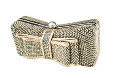 Bolsa dourada brilhante das senhoras Isolado no fundo branco Fotos de Stock Royalty Free