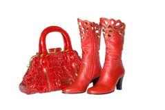 Bolsa e carregadores vermelhos Fotos de Stock