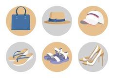 Bolsa e chapéus, sapatas ajustadas, cartão colorido de Vogue ilustração stock