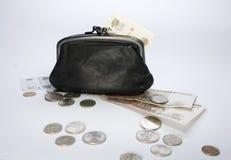Bolsa e dinheiro pretos imagem de stock royalty free