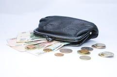 Bolsa e dinheiro pretos foto de stock royalty free