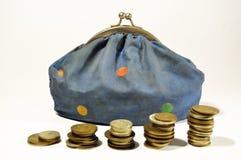 Bolsa e moedas Fotografia de Stock