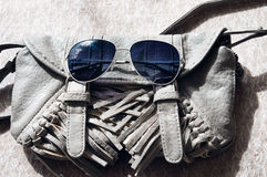 A bolsa e os óculos de sol das mulheres cinzentas pequenas Foto de Stock Royalty Free