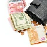 Bolsa e papel moeda Fotografia de Stock Royalty Free