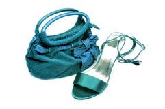 Bolsa e sandle das senhoras fotografia de stock