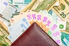 Bolsa e ventilador do dinheiro Foto de Stock