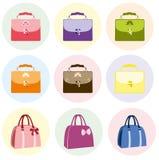 Bolsa fêmea colorida do saco Ensaca a coleção Fotos de Stock Royalty Free