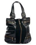 Bolsa fêmea preta com zippers Foto de Stock