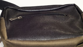Bolsa masculina de couro isolada no close-up branco do fundo Imagem de Stock Royalty Free
