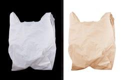 Bolsa plástica y de papel Imagen de archivo libre de regalías