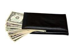 Bolsa preta com dólares Imagem de Stock Royalty Free